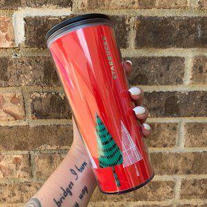 Starbucks 2017 Red Holiday Tree Travel Mug Tumbler
